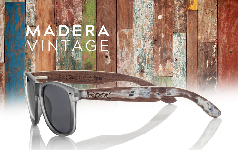 Gafas de Madera con Patillas Vintage. Root Sunglasses - Gafas y Relojes de Madera Natural.