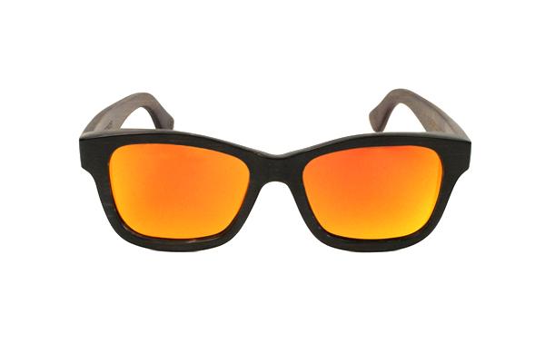 Gafas de sol de madera de bambú teñido marrón lentes narajanjas espejo RIFF