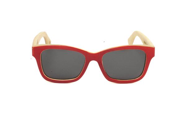 Gafas de sol de madera natural frontal solido rojo lentes grises &POP