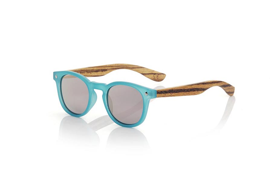Gafas de Madera Natural de Zebrano modelo KID R BLUE | Root Sunglasses®