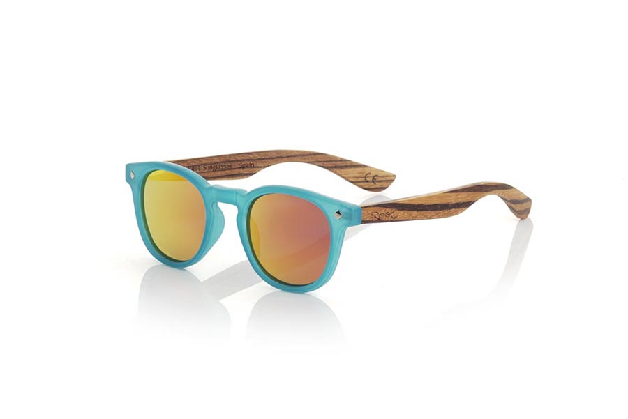 Wood eyewear of Zebrano KID R BLUE.   |  Root Sunglasses®