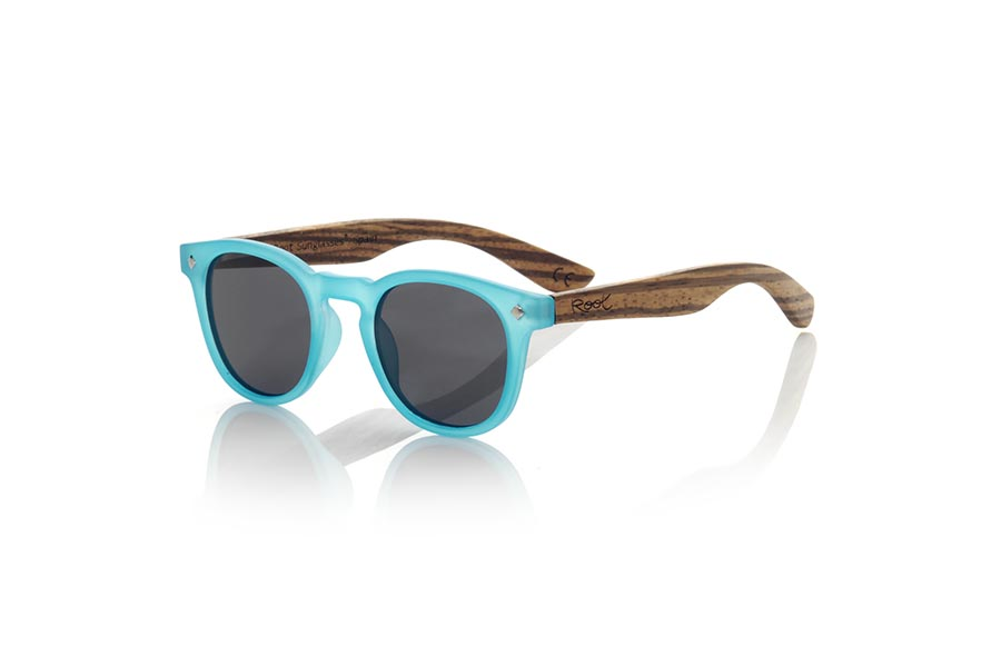 Gafas de Madera Natural de Zebrano KID R BLUE.   |  Root Sunglasses®