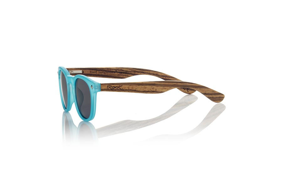 Wood eyewear of Zebrano KID R BLUE | Root Sunglasses®