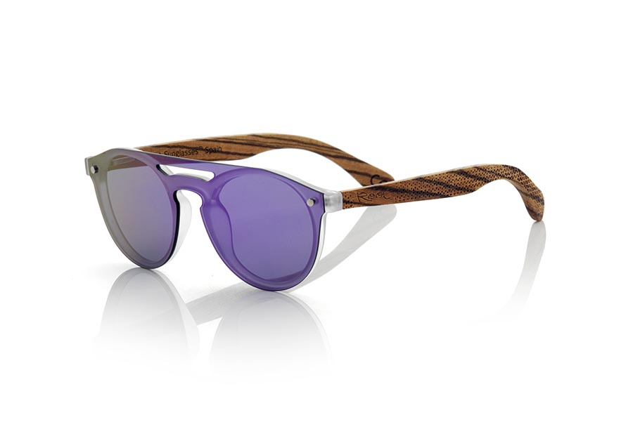 Wood eyewear of Zebra modelo SAMBA PURPLE ...> non-polarized PC </b> Cover the whole frontal.. Frontal measurement: 137X49mm | Root Sunglasses®