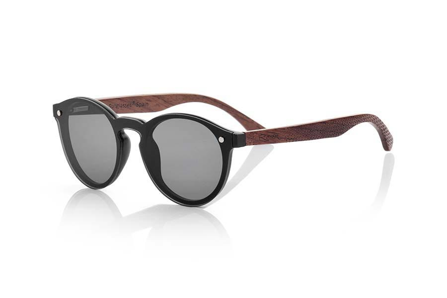 Wood eyewear of Rosewood modelo SUN BLACK ...<b>PC not POLARIZED</b>flat lenses cover around the front. Front size: 136X49mm | Root Sunglasses®