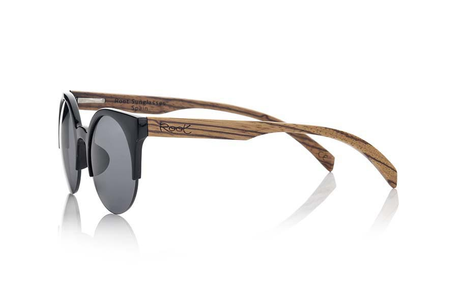 Gafas de Madera Natural de Zebrano CAT BLACK | Root Sunglasses®