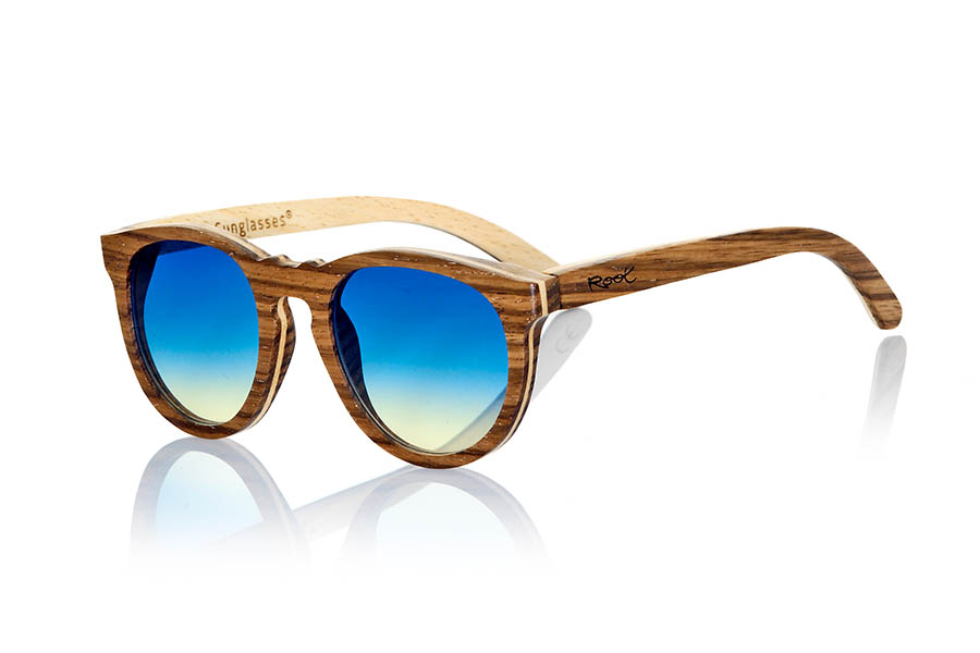 Gafas de Madera Natural de Zebrano modelo MOJAVE ...les y sus lentes CR39 NO polarizadas de colores en degradado. Medidas: 144x54mm | Root Sunglasses®