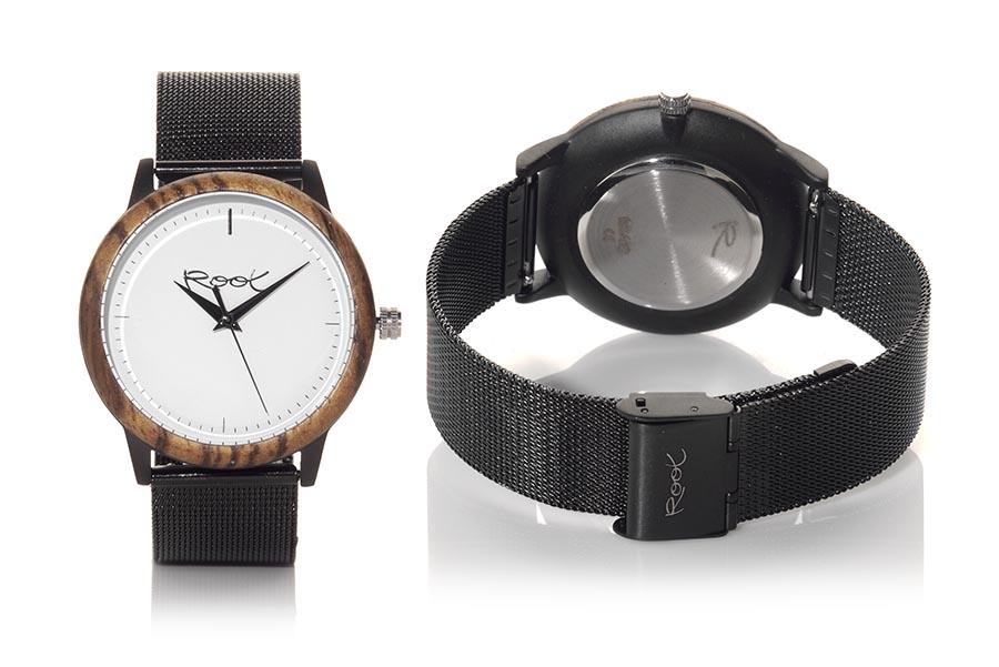 Reloj de Madera Zebrano NEO... NEO, reloj de madera con caja de acero negro de 38mm, aro en madera de ZEBRANO, con dial minimalista de color blanco, agujas negras  y correa metálica negra ajustable automáticamente a todas las medidas, con cierre de clip. | Root® Watches