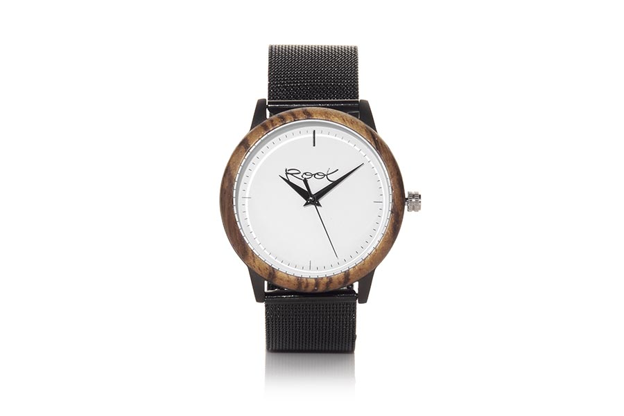 Eco Watch made of Zebrano modelo NEO. NEO, wooden clock with 38mm black steel box, ZEBRANO wood hoop, with minimalist white dial, black needles and black metal strap automatically adjustable to all sizes, with clip closure. | Root® Watches