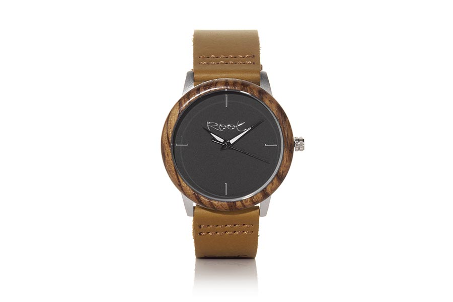 Eco Watch made of Zebrano modelo DKNOW. DKNOW, watch with stainless steel case of 38mm diameter combined with Zebrano wooden ring, with minimalist dial black, black-white needles visible in the dark and brown leather strap with stainless steel clasp. | Root® Watches