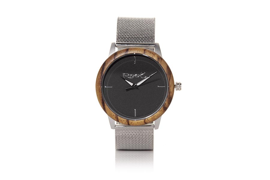 Eco Watch made of Zebrano modelo DAND. DAND, wooden clock with 38mm grey steel box, ZEBRANO wood ring, with minimalist dial in black, black-white needles visible in the dark and grey metallic strap automatically adjustable to all measures with clip closure. | Root® Watches