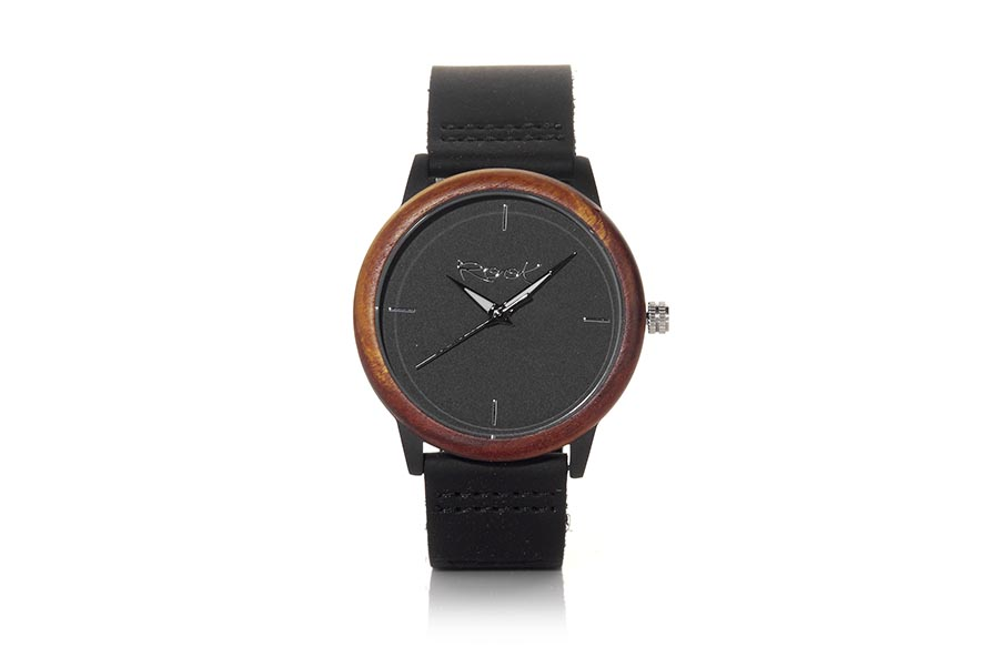 Eco Watch made of Rosewood modelo LISA. LISA, watch with stainless steel box 38mm in diameter combined with rosewood ring, with minimalist dial black color, black-white needles visible in the dark and brown leather strap with stainless steel clasp. | Root® Watches
