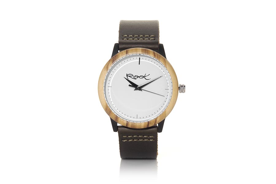 Eco Watch made of Roble modelo MICHAEL. MICHAEL, clock with stainless steel case 38mm in diameter combined with oak ring, with minimalist white dial, black needles and dark brown leather strap with stainless steel clasp. | Root® Watches