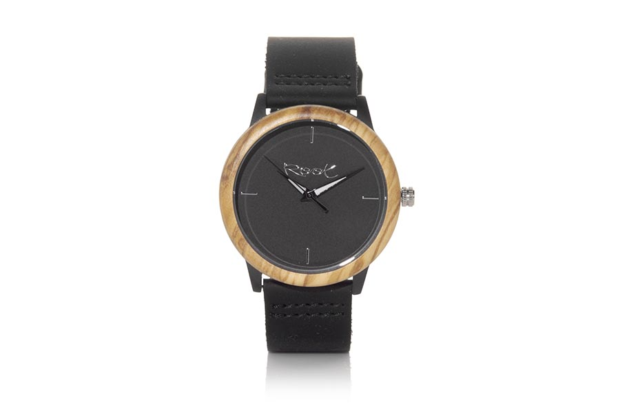 Eco Watch made of Roble modelo TRIME. Trime, clock with stainless steel box 38mm in diameter combined with oak ring, with minimalist dial black, black-white needles visible in the dark and black leather strap with stainless steel clasp. | Root® Watches