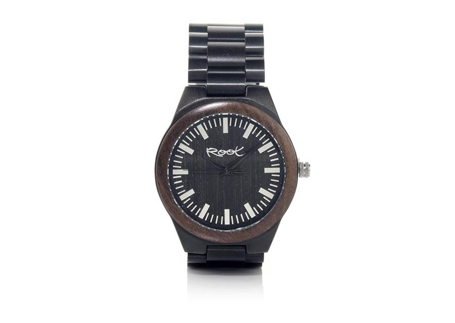 Eco Watch made of ebony modelo BLACK ELEGANCE. BLACK ELEGANCE, wooden watch with 48mm diameter black stainless steel case combined with ebony wood ring Ebony wood sports dial with gray stripes dark reflective black sports hands and black link steel strap with adjustable closure to All sizes. | Root® Watches