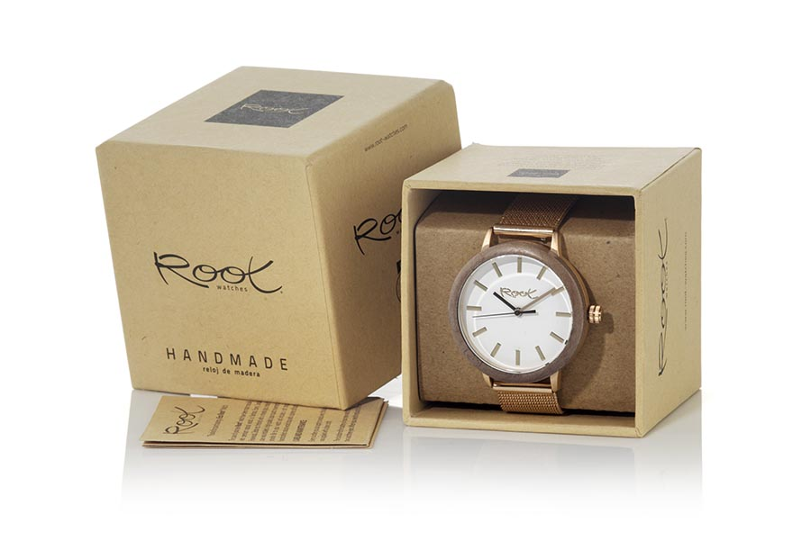 Eco Watch made of Walnut ROSEº... ROSE, wooden watch with 38mm diameter pink stainless steel case combined with BAMBÚ wooden ring White minimalist dial, black reflective hands in the dark and fine metal strap with adjustable steel clasp for all sizes | Root® Watches