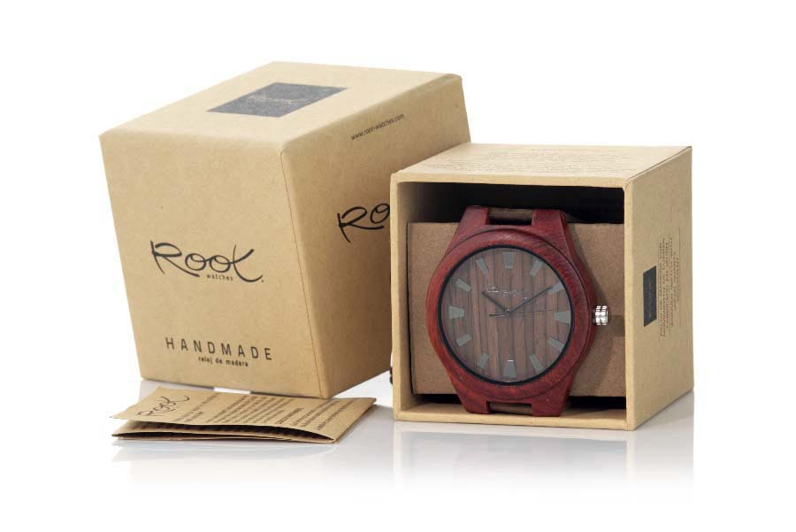 Eco Watch made of Sandalwood MALAWI... Clock of wooden manufactured in wood of SANDALWOOD natural. The model RJST15 box is made of SANDALWOOD and the dial on Sandalomas wood clear than the previous. Triangular wide stripes and gray classic needle scale. Dark brown leather strap. The box width: 48mm | Root® Watches