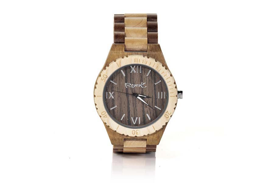 Eco Watch made of Zebra ROMAN LIGHT... Wooden clock manufactured in natural EBONY wood. The model RJST22 box is made with ZEBRA wood and the dial in natural Walnut wood. sporty-looking scale with a combination of stripes and Roman numerals and grey trinagulares needles. Belt of natural wood of two-tone zebra with stainless steel Butterfly clasp. Watch width: 48mm | Root® Watches