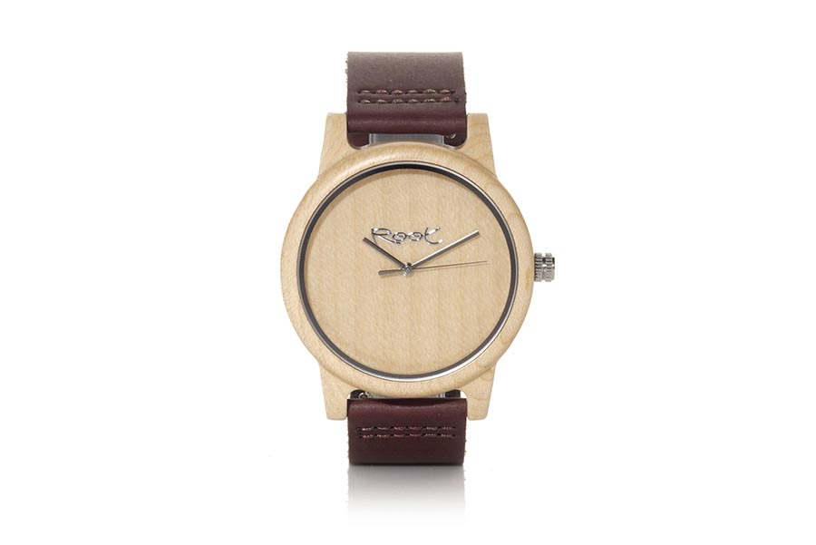 Eco Watch made of Maple modelo MINIMAL TIME ...mpty. Strap is brown leather. The box width: 48mm | Root® Watches