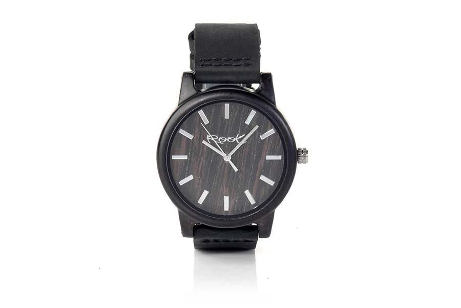 Eco Watch made of Ebony modelo RJST28 ...ipes. Strap is black leather. The box width: 48mm | Root® Watches