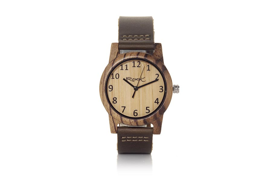 Eco Watch made of Zebra modelo SIMPLE TEMPO ...dles. Strap is brown leather. The box width: 38mm | Root® Watches