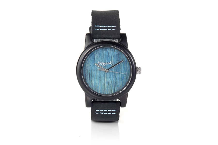 Eco Watch made of Ebony modelo BLUE DAY ...ather with stitching in blue. The box width: 38mm | Root® Watches