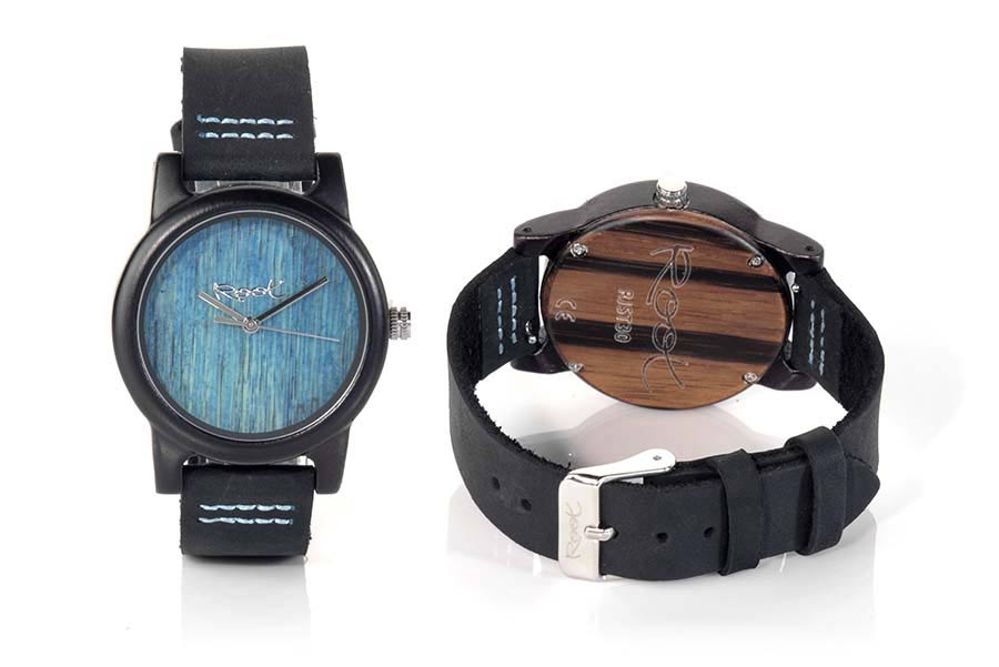 Eco Watch made of Ebony BLUE DAY...  | Root® Watches