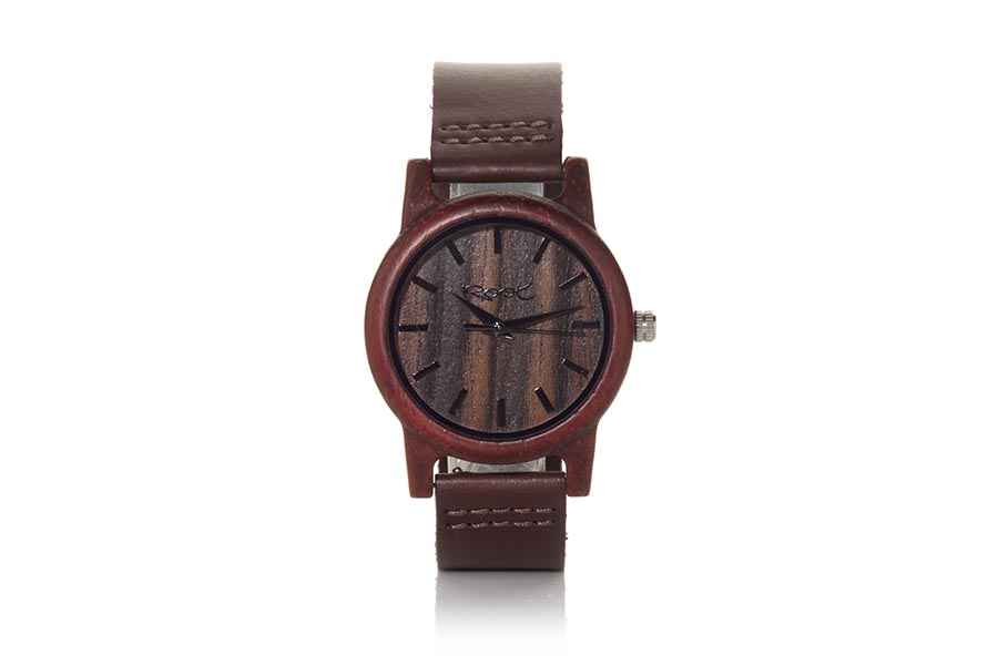 Eco Watch made of Sandalwood modelo NATURAL WAY ...dles. Strap is brown leather. The box width: 38mm | Root® Watches