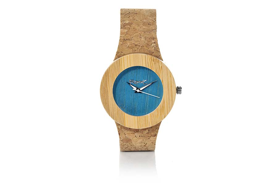 Reloj de Madera Natural EBA BLUE