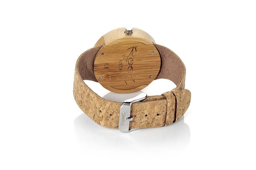 Eco Watch made of Bamboo EBA BLUE... Wood watch made of natural bamboo wood. The RJST33 model box is made of bamboo wood and the dial in Bamboo wood tinted in blue. Minimalist scale and grey triangular needles. Natural cork Strap. Box width: 38 mm | Root® Watches