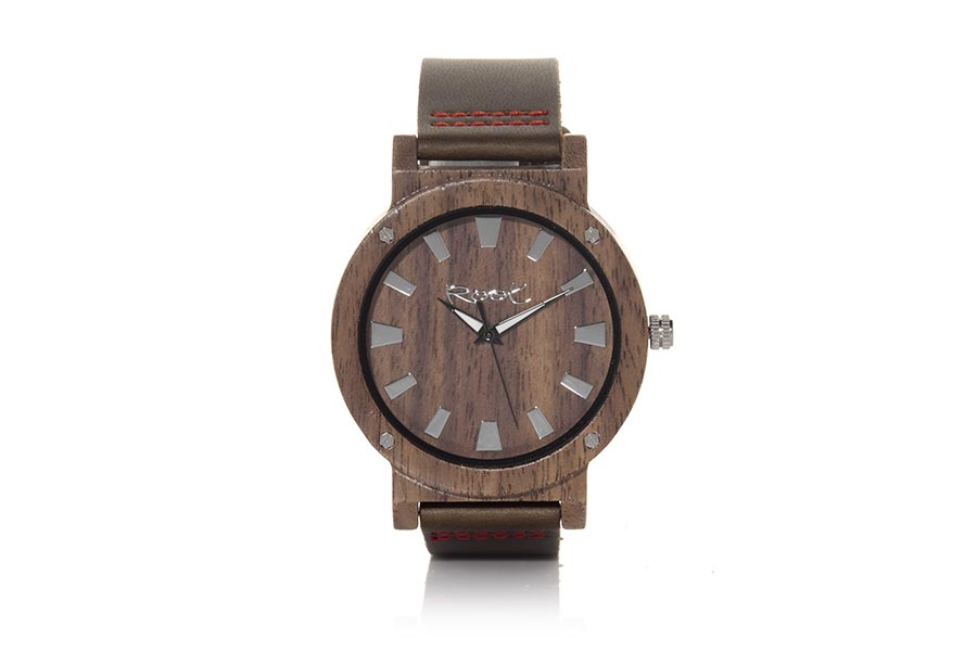 Eco Watch made of Black Walnut modelo THE COMPLEX MAN ...aight needles. Brown leather strap. Box width: 48 | Root® Watches