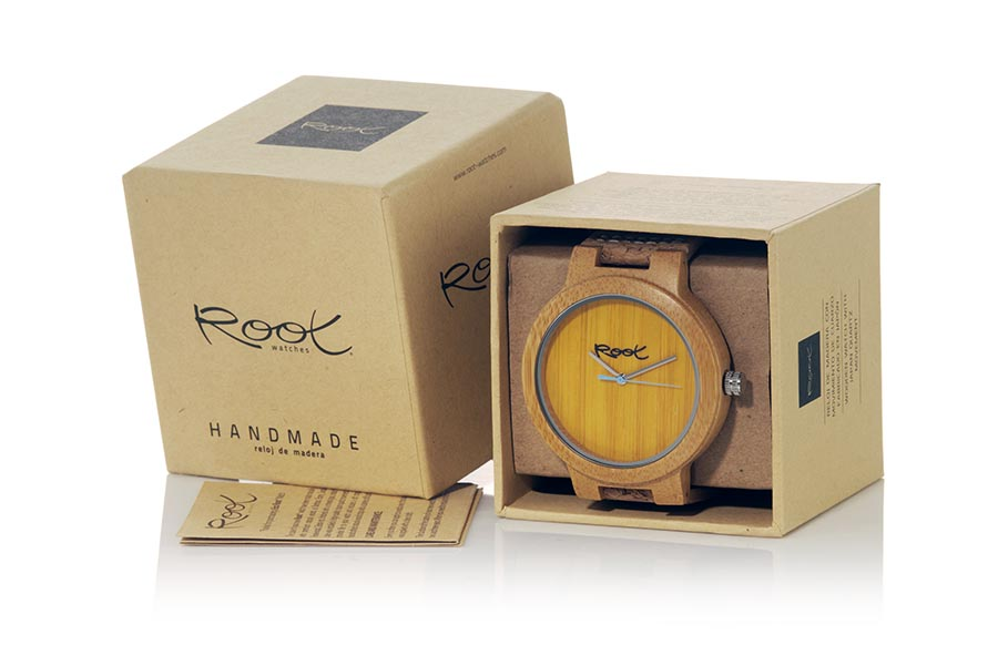 Eco Watch made of Bamboo modelo MINIMAL TIME YELLOW | Root® Watches
