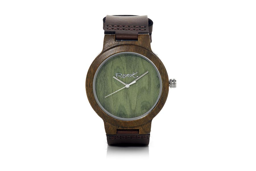 Eco Watch made of Sandal modelo GREEN NATURE ...ray needles. Black leather strap. Box width: 48mm | Root® Watches