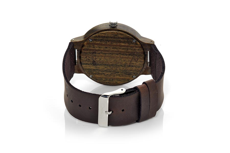 Eco Watch made of Sandal GREEN NATURE... Wooden clock made of natural green SANDALO wood. The RJST40 model box is made of sandalwood and the dial in green sandalwood. Wide unnumbered scale and straight gray needles. Black leather strap. Box width: 48mm | Root® Watches