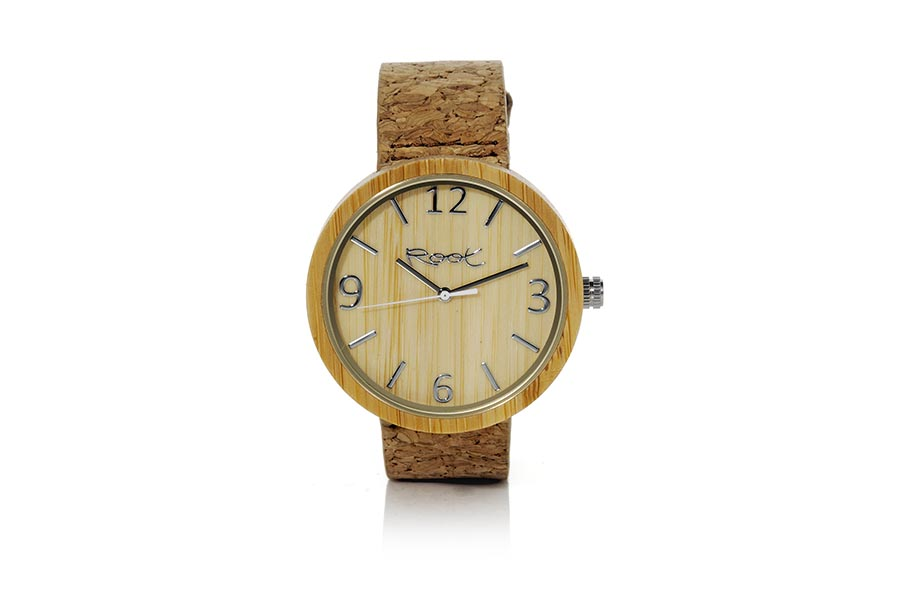 Eco Watch made of Bamboo modelo LIGHT DAY ...lack needles. Natural cork Strap. Box width: 48mm | Root® Watches