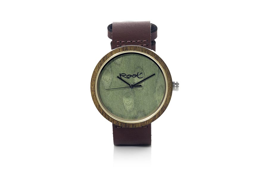 Eco Watch made of Sandal modelo RAY ...ack needles. Brown leather strap. Box width: 48mm | Root® Watches