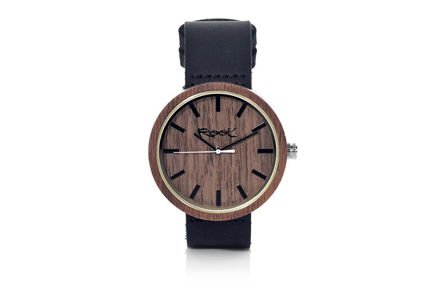 Eco Watch made of Walnut modelo DON ...ack needles. Black leather strap. Box width: 48mm | Root® Watches
